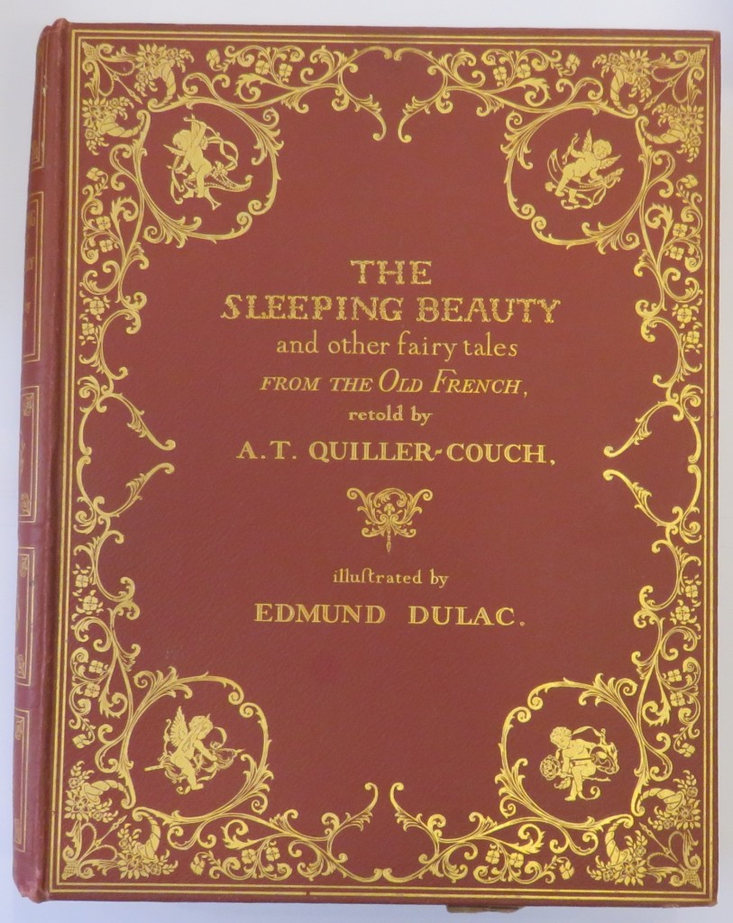 front of fairy tale book by AT Quiller-Couch with elaborate gilt detailing, illustrated by Edmund Dulac